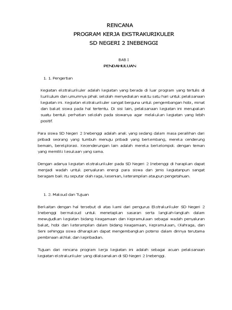 Rencana Program Kerja Ekstrakurikuler Sdn 2 Inebenggi Docx