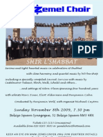 Zemel Choir-Shir L'Shabbat Flyer-Concert 8th November-Belsize Square Synagogue
