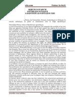 RERUM NOVARUM LETTRE ENCYCLIQUE DE SA SAINTETÉ LE PAPE LÉON XIII