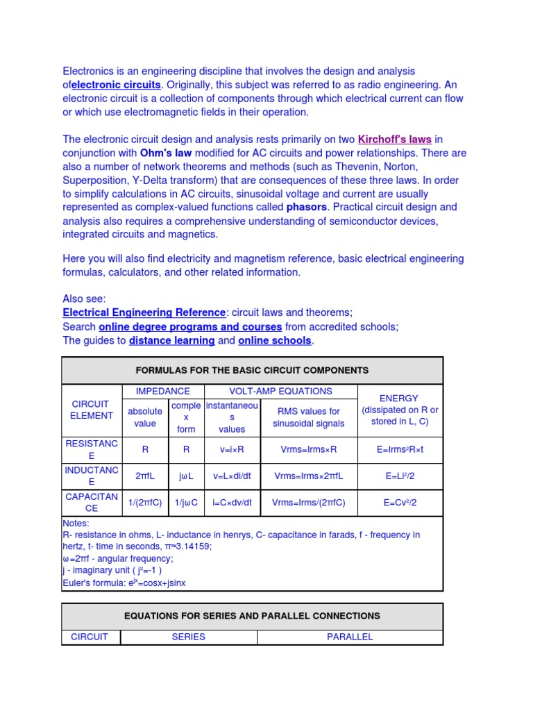 Electrical Engineering Formulas Magnetic Field Impedance For Electric Circuits Learn