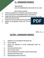 Duties - Fin Manager