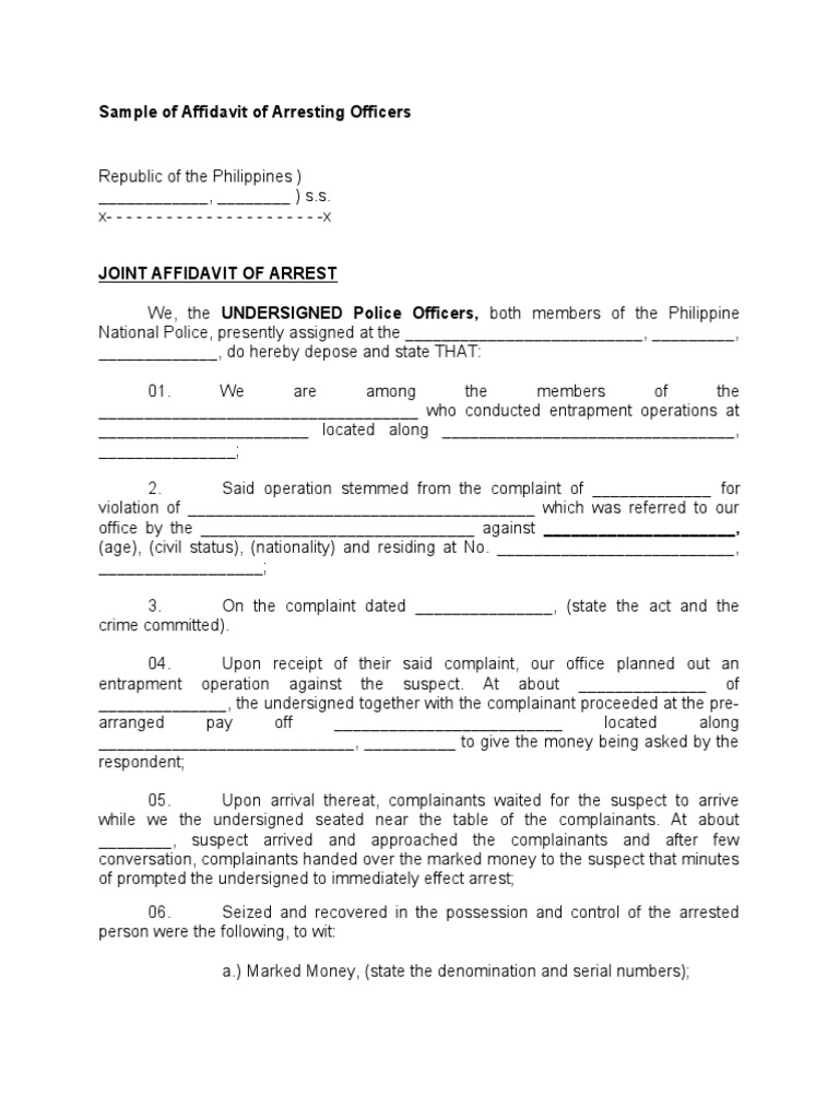 Sample of Affidavit of Arresting Officers – Sample Affidavit