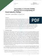 Growth and Fecundity of Eisenia Foetida