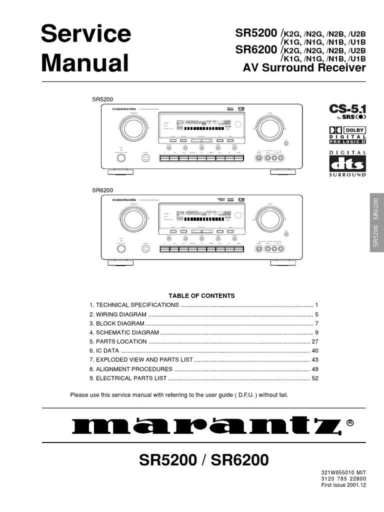sr5200 service manual rh es scribd com Marantz SR5001 Marantz SR5300