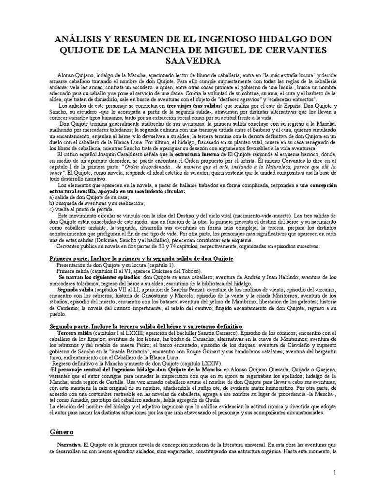 Análisis Y Resumen De El Ingenioso Hidalgo Don Quijote De La