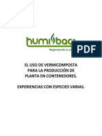 Experiencias en el uso de vermicomposta para producción de planta en contenedor