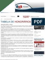 TABELA HONORÁRIOS OAB RONDÔNIA A PARTIR DE 05092013