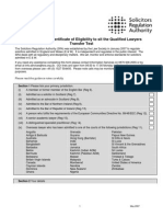 QLTT Certificate of Eligibility Form