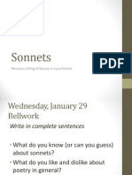 sonnets-- notes and bellwork