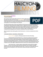 Halcyon Filming – Weddings Terms and Conditions