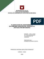 planificacion del mantenimiento en compañia papelera