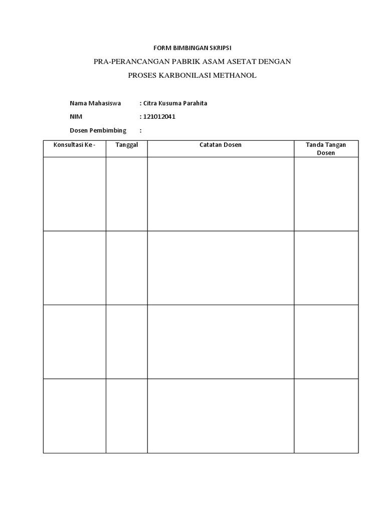 Form Bimbingan Skripsi