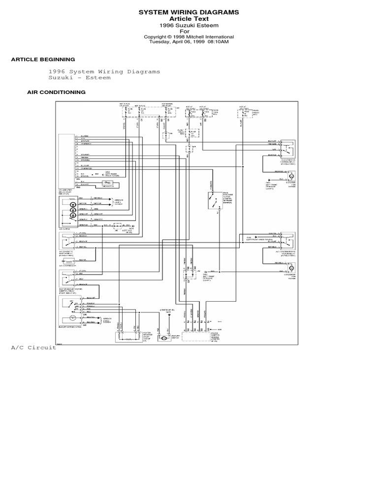 2001 Suzuki Esteem Fuse Box. Suzuki. Auto Wiring Diagram