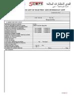Elec. & Hydraulic Lift Checklist