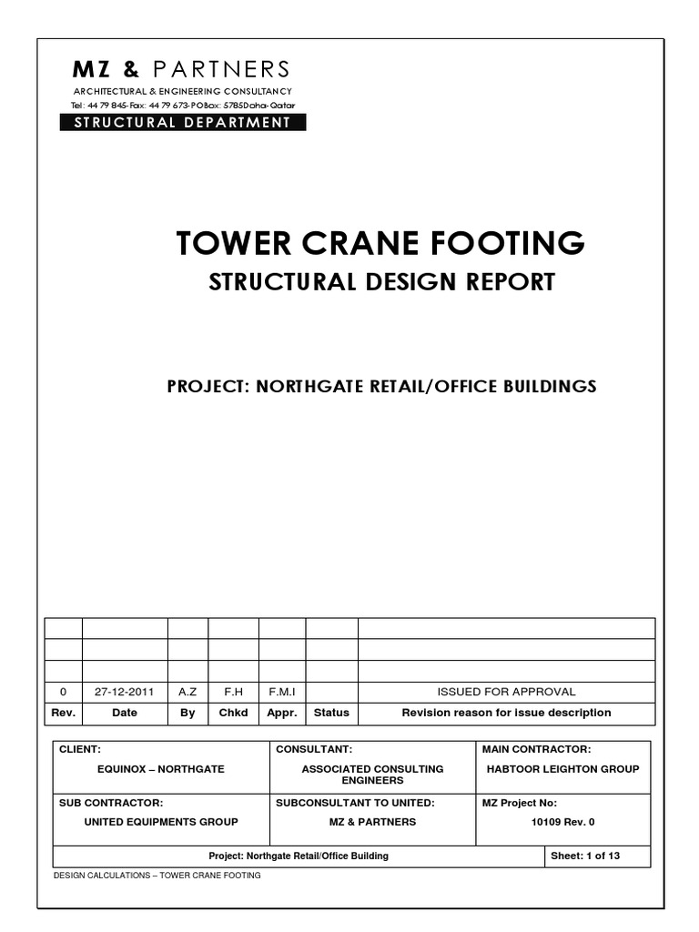 Tower Crane Design Calculations : Tower crane footing structural design for all