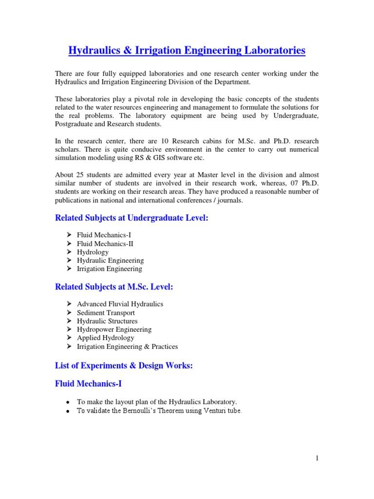 Hydraulics Laboratory | Hydrology | Pump