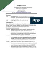 Curriculum Vitae for Dr. Steven J. Hite, 2009