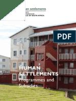 Human Settlements Programmes and Subsidies