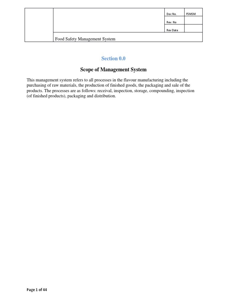 Copy of FOOD SAFETY MANAGEMENT SYSTEM MANUAL docx | Food