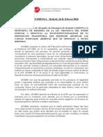 Nota de Prensa Reforma de La LOPJ Febrero 2014