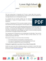 Candidates Letter Head of ICT and Computing