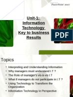 Unit-1 Information Technology Key to Business Results