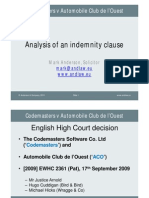 Analysis of an Indemnity Clause (English law)