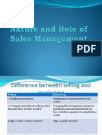 nature and role of sales management