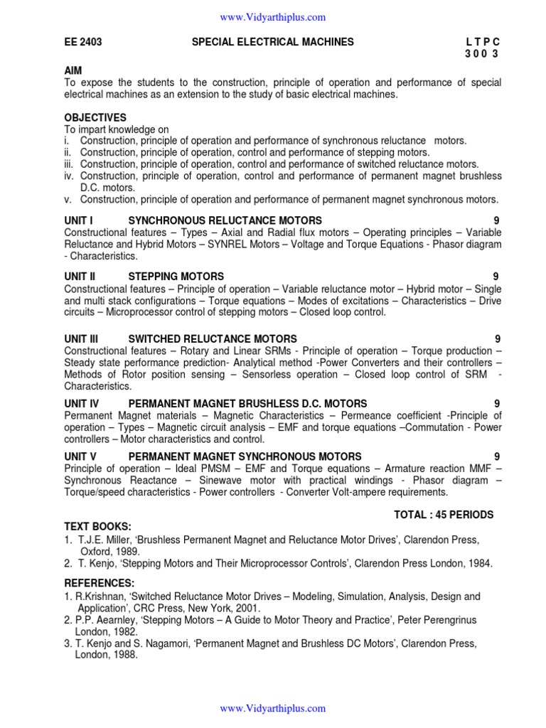EE 2403 SPECIAL ELECTRICAL MACHINES Regulation 2008 Syllabus ...