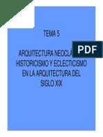 Tema 5 Arquitectura Neoclasica. Historicismo y Eclecticismo en Arquitectura Xix
