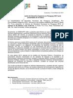 Informe sobre la situación de derechos humanos en Paraguay 2013 será presentado en el Chaco