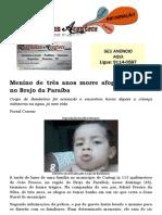 Menino de três anos morre afogado em rio, no Brejo da Paraíba