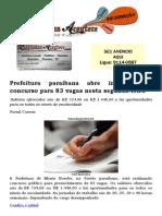 Prefeitura paraibana abre inscrição de concurso para 83 vagas nesta segunda-feira
