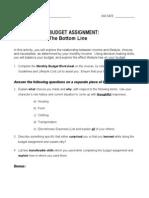 budget assignment handout
