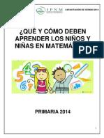 Qué y cómo deben aprender los niños y niñas en el Área de Matemática