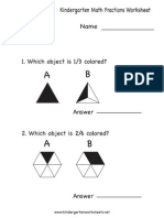Kindergarten Math Fractions Worksheet