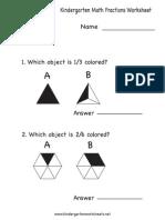 Kindergarten Math Fractions Worksheet