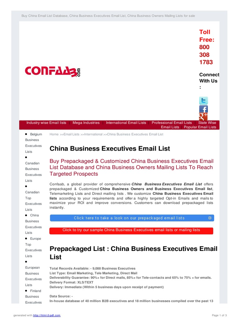 China Email List | Direct Marketing | Email