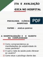 ENTREVISTA  E  AVALIAÇÃO PSICOLÓGICA NO HOSPITAL