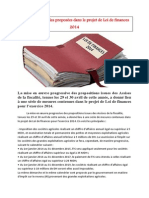 Les mesures fiscales proposées dans le projet de Loi de finances 2014