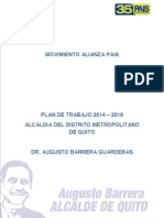 Plan de gobierno Augusto Barrera (LISTAS 35) para la alcaldia de Quito periodo 2014-2019