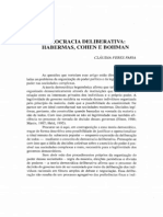 Democracia Deliberativa- Habermas, Cohen e Bohman