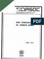 Datos tecnológicos del hormigón