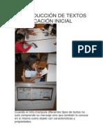 LA PRODUCCIÓN DE TEXTOS EN EDUCACIÓN INICIAL