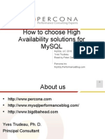 How to Choose High Availability Solutions for MySQL Presentation