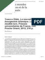 """C_Ozatalay_""""Yankaya Dilek, La nouvelle bourgeoisie islamique. Le modèle turc, Presses universitaires de France, coll. Proche Orient, 2013, 216 p."""" Önizlemesi"""