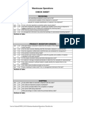 8 Operations Checklist | Warehouse | Packaging And Labeling