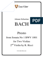 Bach - Presto for Two Violins