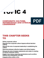 Topic 4 Corporate Culture Governance and Ethical Leadership