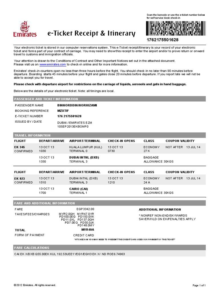 fake flight itinerary template